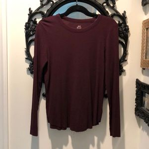 Aerie Real Soft Plum Ribbed L/S Tee M Never Worn
